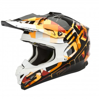 Casque Cross Scorpion VX-15 Evo Air Grid Schwarz Orange