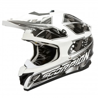 Casque Cross Scorpion VX-15 Evo Air Magma Schwarz Weiß