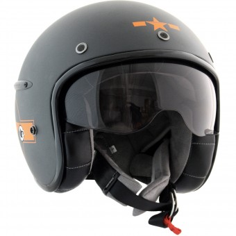Casque Jet HARISSON Corsair Star Deco Grau Mat Orange
