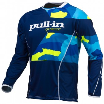 Cross Trikot pull-in Fighter Camo Blue Neon Yellow