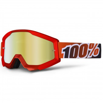Crossbrille 100% Strata Fire Red Mirror Gold Lens
