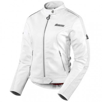 Motorradjacke ICON Hella Leather Jacket White