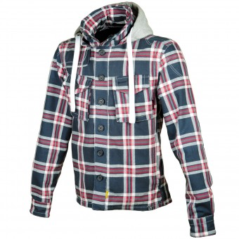 Motorradjacke Booster Hoodie Kevlar Hunt Blue Grey Red