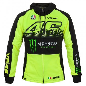 Motorrad Pullover VR 46 Fleece Zip Replica Monster Fluo Yellow VR46