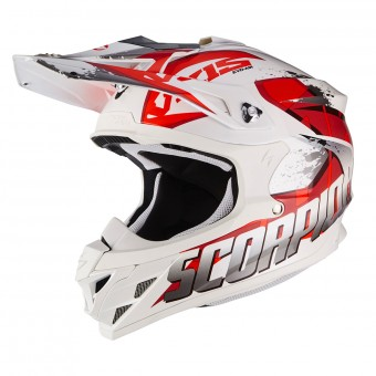 Casque Cross Scorpion VX-15 Air Defender WhIte Red