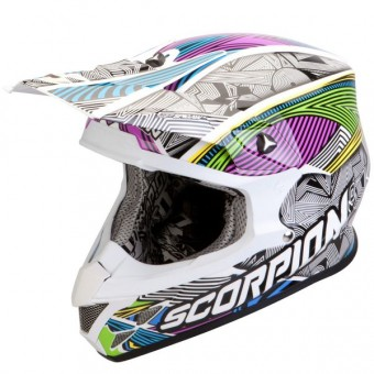 Casque Cross Scorpion VX-20 Air Geo Weiß Schwarz Multi