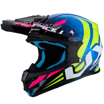 Casque Cross Scorpion VX-21 Air Xagon Blue Neon Yellow