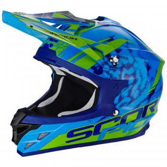 Casque Cross Scorpion VX-15 Evo Air Kistune Blue Green