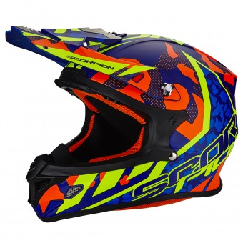 Casque Cross Scorpion VX-21 Air Furio Blue Red Neon Yellow