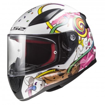 Casque Kinder LS2 Rapid Mini Crazy Pop White Pink FF353J
