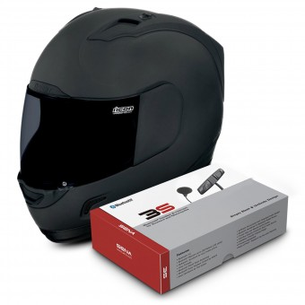 Casque Integral ICON Alliance Dark + Sena 3S Bluetooth Kit
