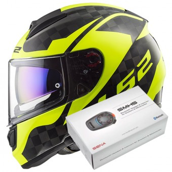 Casque Integral LS2 Vector C Shine Carbon H-V Yellow FF397