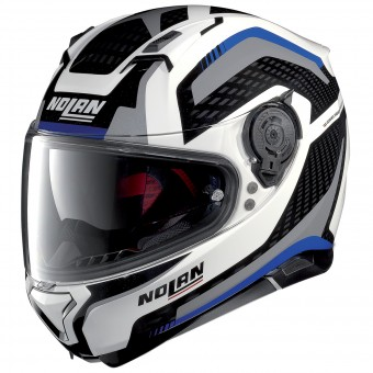 Casque Integral Nolan N87 Arkad N-Com White Blue Grey 44