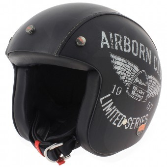 Casque Jet Airborn Steve AB+ 42 Black Leather