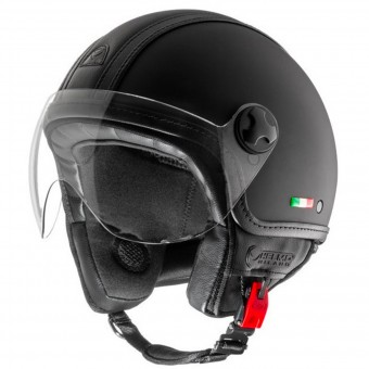 Casque Jet Helmo Pelledura Black Matt Leather Black
