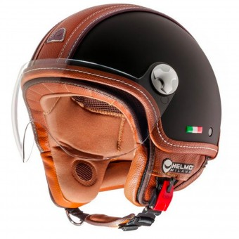 Casque Jet Helmo Pelledura Black Matt Leather Brown