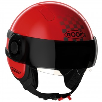Casque Jet Roof Cooper Sunset Rot Schwarz Matt