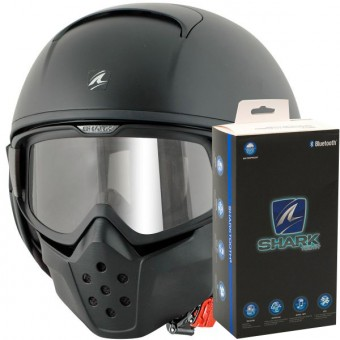 Casque Jet Shark Drak Blank Mat GMA + Sharktooth Bluetooth Kit