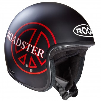 Casque Jet Roof Roadster Peace Schwarz Matt Rot