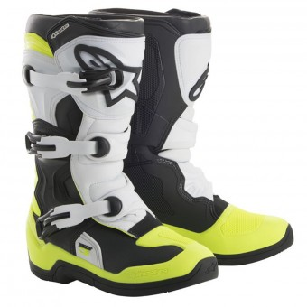 Cross Stiefel Alpinestars Tech 3S Kids Black White Yellow Fluo