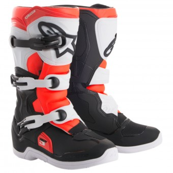 Cross Stiefel Alpinestars Tech 3S Youth Black White Red Fluo