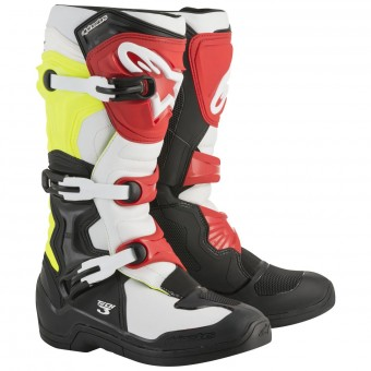 Cross Stiefel Alpinestars Tech 3S Youth Black White Yellow Fluo