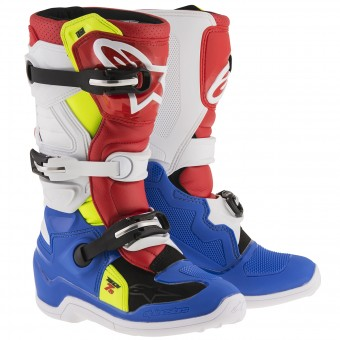 Cross Stiefel Alpinestars TECH 7 S Blue Red Yellow Fluo - Kinder