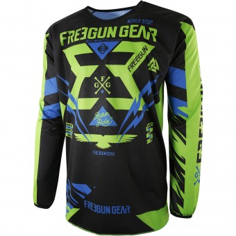 Cross Trikot Freegun Devo Trooper Green Blue - Kinder