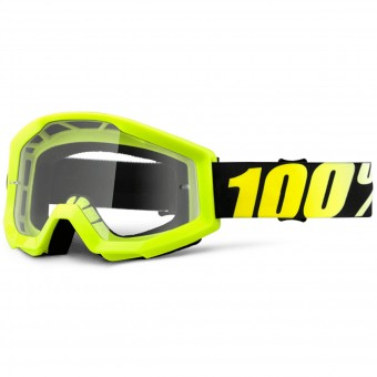 Crossbrille 100% Strata Neon Yellow Clear Lens - Kinder