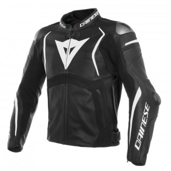 Motorradjacke Dainese Mugello Leather Black White