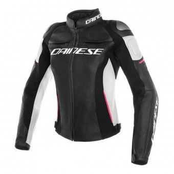 Motorradjacke Dainese Racing 3 Lady Black White Fuchsia