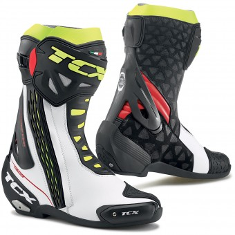 Motorradstiefel TCX RT-Race White Red Yellow Fluo