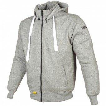 Motorradjacke Booster Hoodie Kevlar Core Light Grey