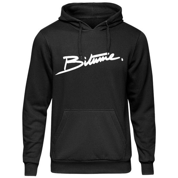 Motorrad Pullover 100% Bitume Hoodie Signature Big Black